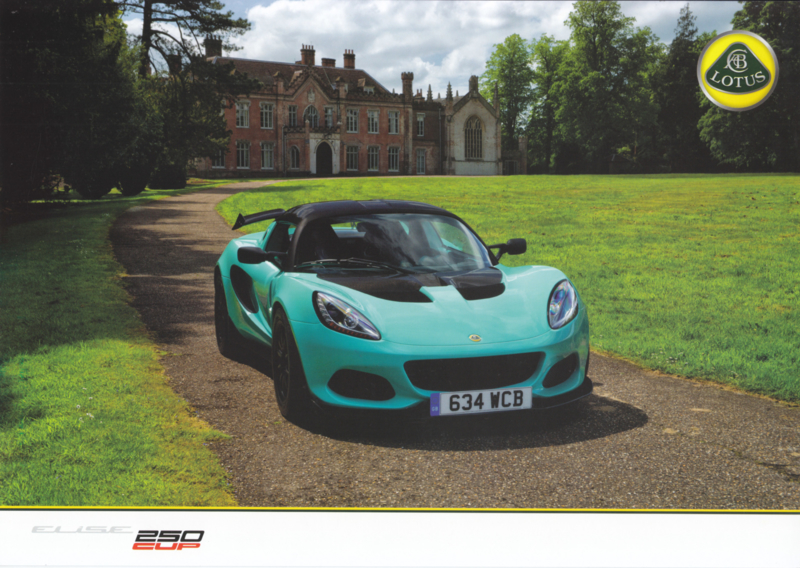 Elise 250 Cup, 2 page leaflet, DIN A4-size, factory-issued, English language