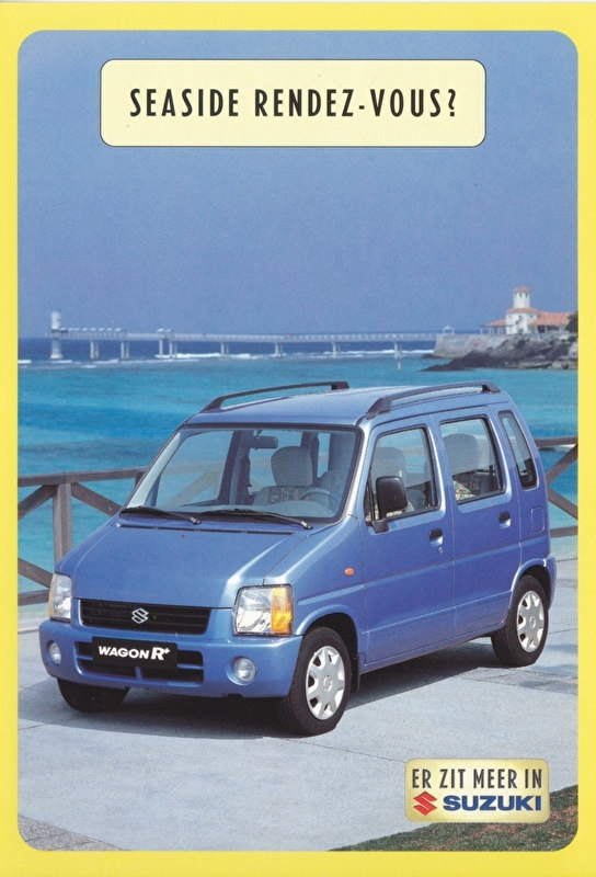 Wagon R+, DIN A6-size postcard, Dutch language, 1999