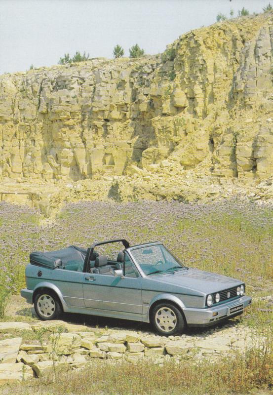 VW Golf Cabriolet by Karmann,  A6-size postcard, early 1990s, German
