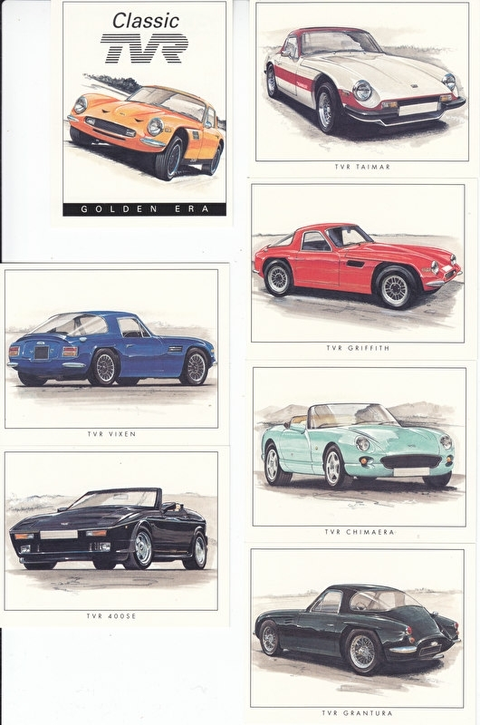 TVR Classic models, series of 6 cards + cover picture, small size,  English, Golden Era Issue