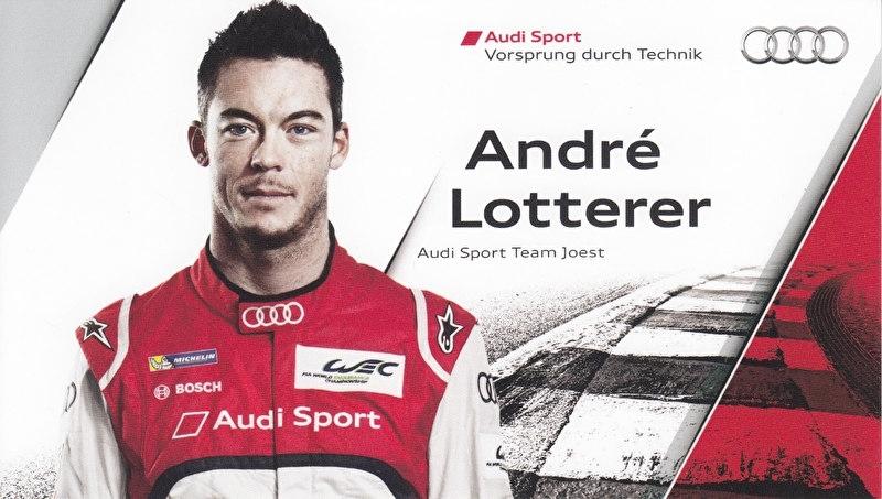 Racing driver Andre Lotterer, postcard 2013 season, English language