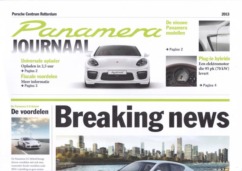 Panamera newspaper brochure, 4 large pages, 2013, Dutch language (PC Rotterdam)