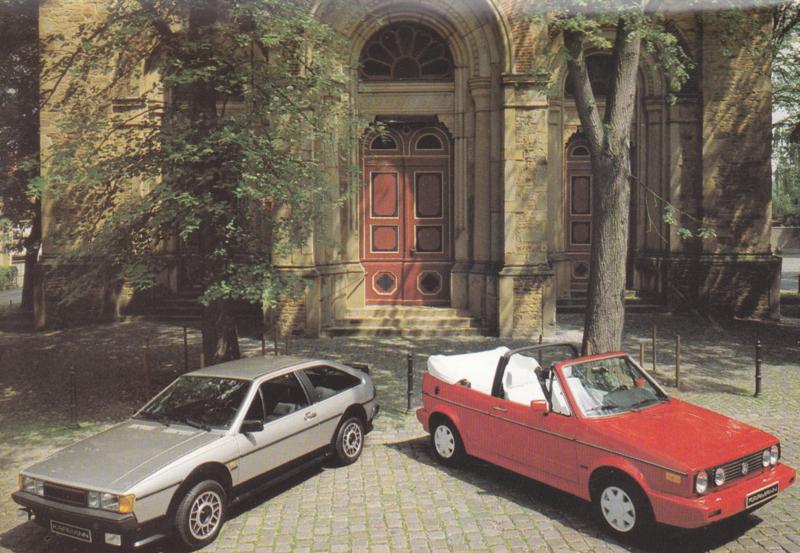 VW Golf Cabriolet & Scirocco by Karmann,  A6-size card, 1980s, German