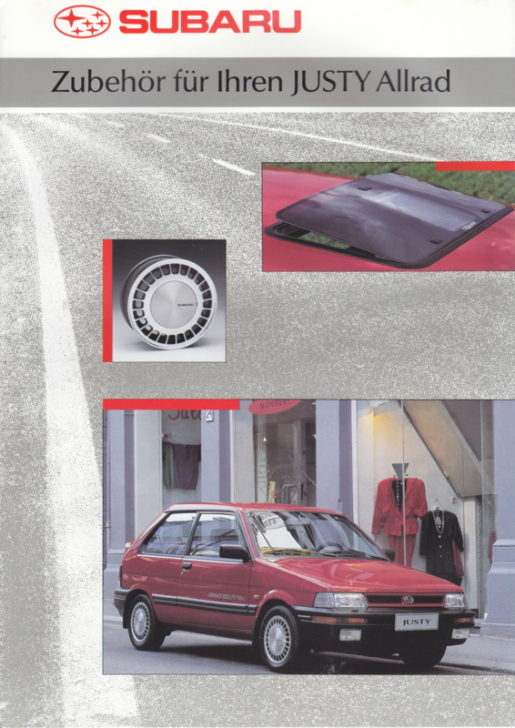 Justy 4x4 accessories brochure, 6 pages, German language, 05/1991