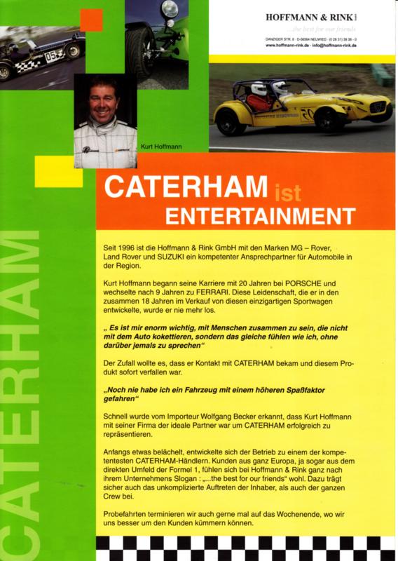 Caterham sportscar leaflet, 2 pages, about 2008, German language