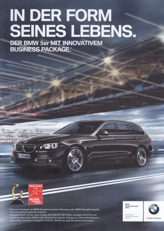5-Series Touring Business Edition, A4-size brochure,  4 pages, 2016, German language