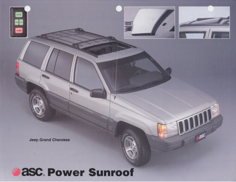 Grand Cherokee with ASC Power Sunroof, 2 pages, about 1996, USA