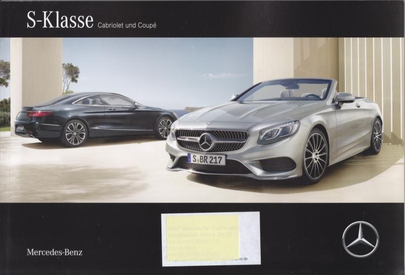 S-Klasse Cabriolet & Coupé brochure, 96 pages, A4-size, 03/2016, German language