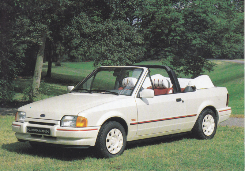 Ford Escort Cabriolet by Karmann,  A6-size postcard, early 1990s, German