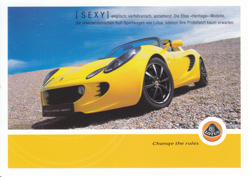 Elise 99 T Heritage models,  A6-size postcard, 2004, German language