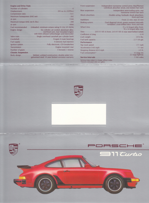 911 Turbo brochure, 6 pages, 1988, English (USA)