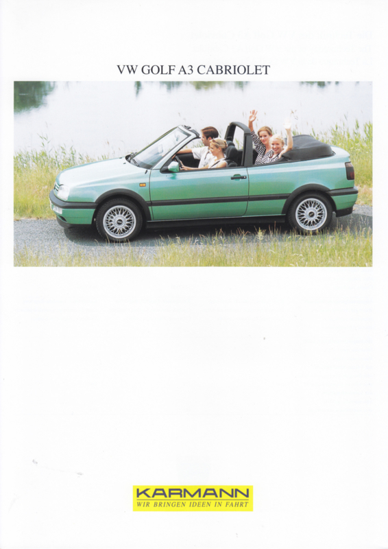 VW Golf A3 Cabriolet by Karmann brochure, 2 pages, about 1995, 3 languages