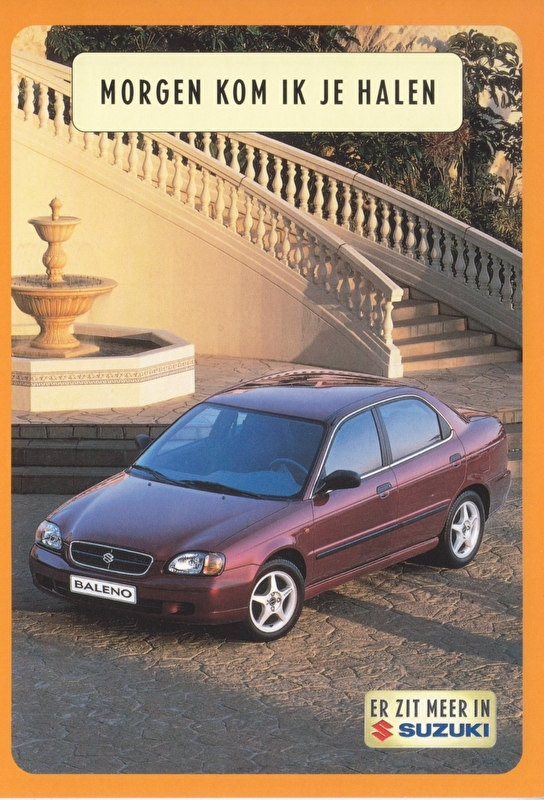 Baleno Sedan, DIN A6-size postcard, Dutch language, 1999