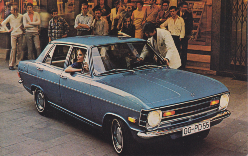 Kadett Deluxe 4-Door Sedan postcard, 1971, USA, English language