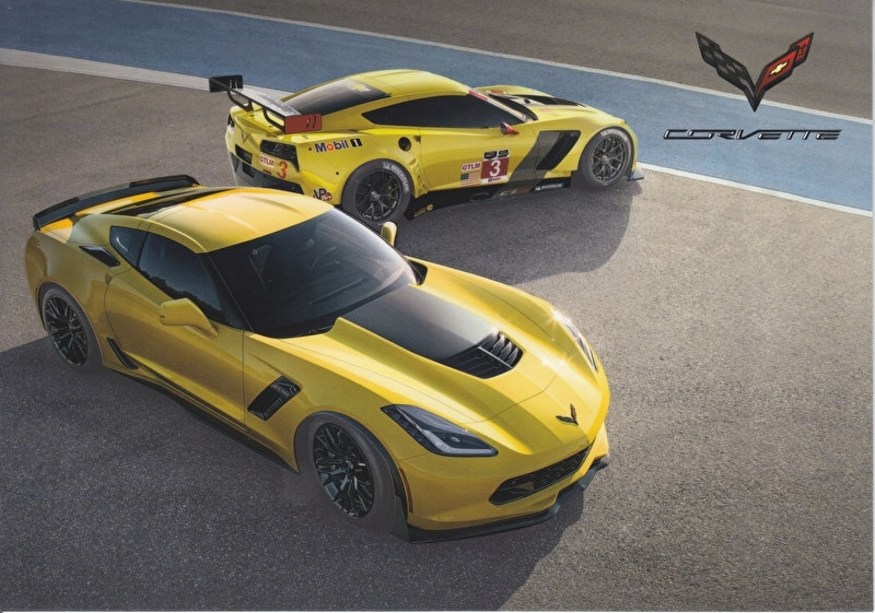 Corvette Z06 V8 2016, 2 heavy cardboard pages, export, English language, DIN A5