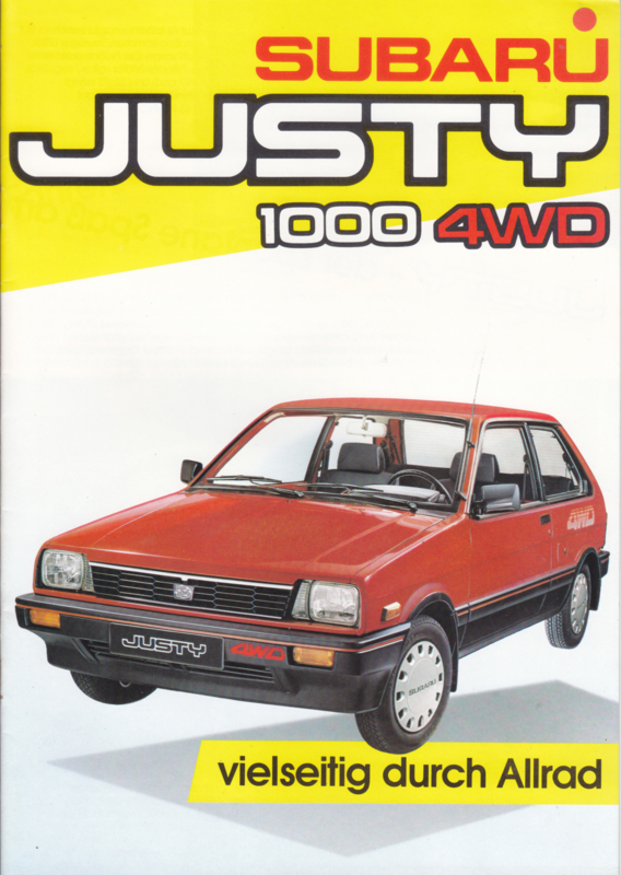 Justy 1000 4WD brochure, 16 pages, German language, about 1986