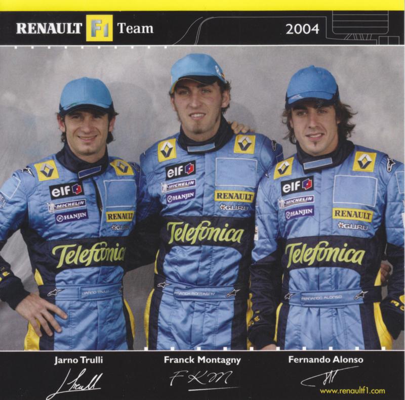Formula 1 team drivers Trulli, Montagny & Alonso, square postcard, 2004