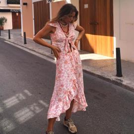 Skirt Midi Overslag pink print 8120817 - Isla Ibiza Bonita