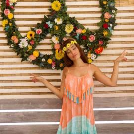 Dress Pompons - Print Coral, Bali Sensasi