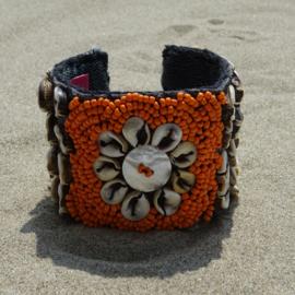 Flower on Ikat beads - Orange - Hot Lava
