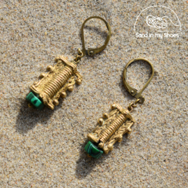 Sea Colors Brass Stone - Malachite Green with Brass Shapes - By Callia