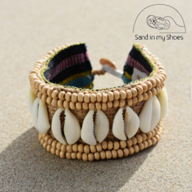 Armband Zanzibar - Wood & Shell 1 - Hot Lava
