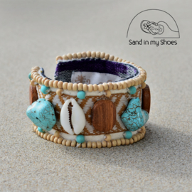 Armband Zanzibar - Wood & Shell - Hot Lava
