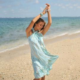 Wrap skirt Moonstone, Sea Mist - Hot Lava