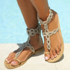 Sandal Velvet silver, sand - Hot Lava