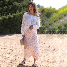 Skirt Indian tradition print lavender & orange 8121816