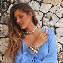 Bracelet Ebony Geweven, Beige - Hot Lava