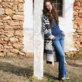 Knitted Cardigan Print Fringes Isla Ibiza - Jeans Blue