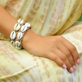 Bracelet Ebony Geweven, wit - Hot Lava