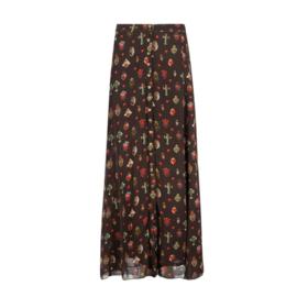 Maxi Skirt Mexican Sacred Hearts Printed – Black