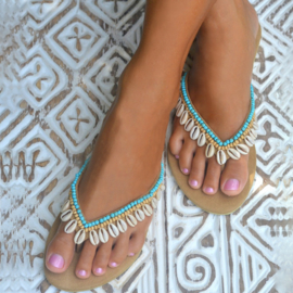 Slippers Blue Lagoon Hanging Shell - Aqua - Hot Lava