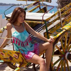 Dress Pompons - Print Turquoise, Bali Sensasi