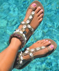 Sandals Mykonos, Taupe - Hot Lava