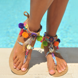 Sandals Brasil Mirror & Pompom Hot lava- Multi/Sand