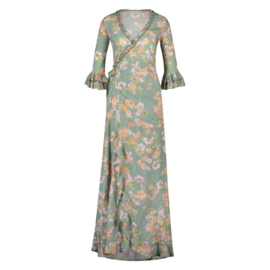 Maxi Dress Vintage Flowers Isla Ibiza - Vintage Mint