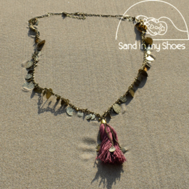 Necklace Coins Tassles - Red - Isla Ibiza