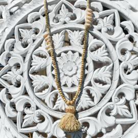Necklace Tahiti  Raffia kwast - Hot Lava