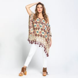 Poncho Aztec Savage Culture - Multi