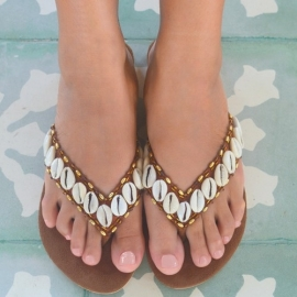Shell &  bronze beads slippers, Hot lava