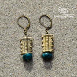 Sea Colors Brass Stone - Malachite with Brass Shapes - By Callia