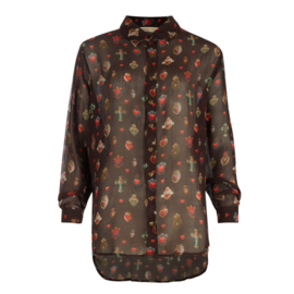 Oversized Blouse Mexican Sacred Hearts Printed – Black