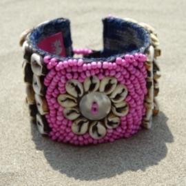 Flower on Ikat beads - Pink - Hot Lava