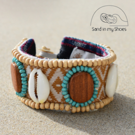 Armband Zanzibar - Wood & Shell 2 - Hot Lava
