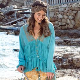 Blouse Bohemian Kwastjes Isla Ibiza - Turquoise 8219506