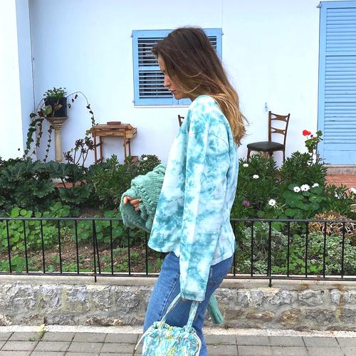 Short Tye Dye Sweater Rust – Turquoise 8220616, Isla Ibiza Bonita