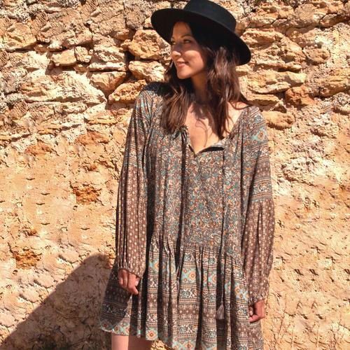 Tuniek Bloemen Taupe 8220705 - Isla Ibiza Bonita